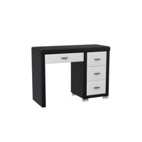 Туалетный столик OrmaSoft 2, 4 ящика, правый, экокожа черная/белая