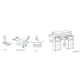 Туалетный столик OrmaSoft 2, 7 ящиков, экокожа коричневая/белая