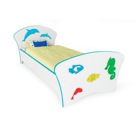 Детская кровать Соната Kids, 90х200, фасад Море голубая кромка