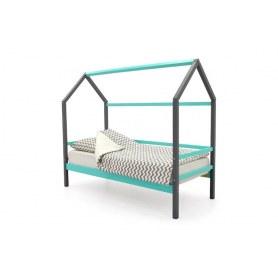 Детская кровать-домик Svogen графит-мятный