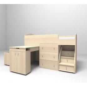Детская кровать-чердак  Малыш 1800, корпус Дуб, фасад Дуб