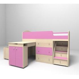 Детская кровать-чердак  Малыш 1600, корпус Дуб, фасад Розовый