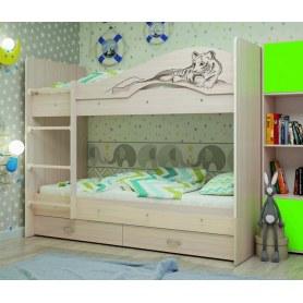 Детская двухъярусная кровать Мая-Сафари с 2 ящиками на латофлексах, цвет Млечный дуб