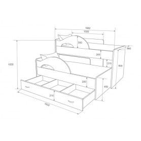 Детская двухъярусная кровать Радуга-Сафари 1.6 с ящиком, корпус Млечный дуб, фасад Оранжевый