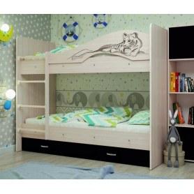 Детская  двухъярусная кровать Мая-Сафари с 2 ящиками на щитах, корпус Млечный дуб, фасад Венге