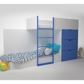 Детская двухэтажная кровать с комодом  Брусника, Синий, ДМ-К2-1-2