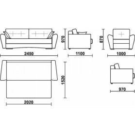 Прямой диван Мальта 1 БД