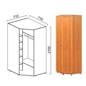 Шкаф угловой Александра-1, ПР-1, шимо светлый, МДФ с кожзамом