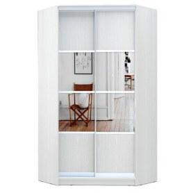 Угловой шкаф ГШУ-23-4-10-77, 2 двери  ДСП/зеркало/ зеркало/ДСП, Белый