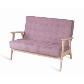 Прямой диван Ретро, Розовый 08/Беленый дуб