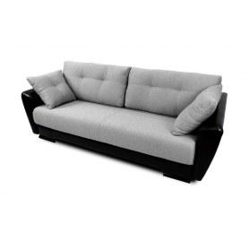 Прямой диван Амстердам, цвет Поло серый / SDB (ткань/кожзам)