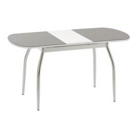 Кухонный обеденный стол Портофино-2 рис.0 матовое стекло (хром, белое/черное)