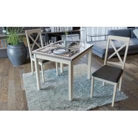 Обеденный раздвижной стол Мельбурн со стеклом, цвет Слоновая кость /Бежевый глянец СМ (Б)-100.05.12(1)