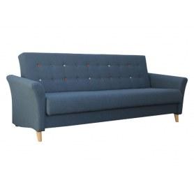 Прямой диван Клементина с цветными пуговицами, темпо7синий