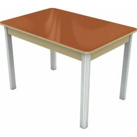 Кухонный раздвижной стол Гамбург исп.1 хром №28 (стекло оранжевое/дуб выбеленный)