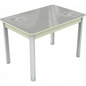 Кухонный раздвижной стол Гамбург мини хром №28, Рисунок квадро (стекло белое/металлик/белый)