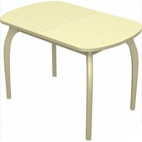 Кухонный раздвижной стол Ривьера исп.1 дерево №1, пластик (цветы песочные/дуб млечный)