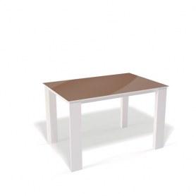 Кухонный раздвижной стол Kenner L1450 (Белый/Стекло капучино глянец)