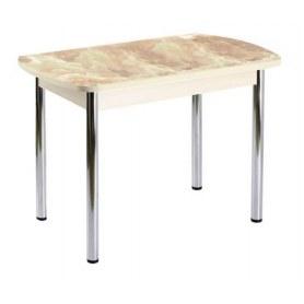 Кухонный обеденный стол ПГ-01 СТФ, дуб молочный лдсп/мрамор/39 прямые трубы хром