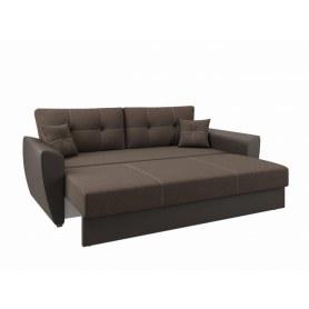 Прямой диван Фортуна, Рогожка коричневая / кож. зам коричневый LUXE, с двумя декоративными подушками