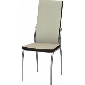 Обеденный стул Мартини 2-х цветный хром (Punto Cream - Brown)
