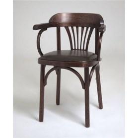 Кухонный стул Венский мягкий, кожзам коричневый/темный тон