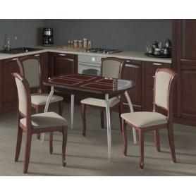 Обеденная группа: Стол Портофино 1, рис1 венге хром лак, стулья Кабриоль коньяк/Т21