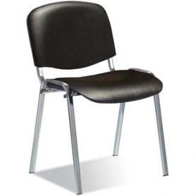 Офисный стул ИЗО каркас хром, черный кожзам