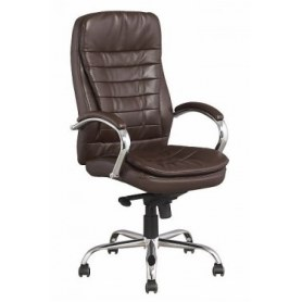 Офисное кресло Кресло J 9031-1 нат. кожа /хром, коричневый