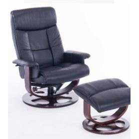 Офисное кресло J6011 для релаксации нат. кожа / дерево, черный