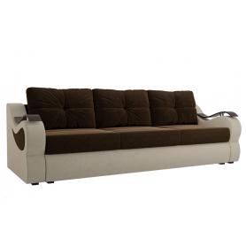 Прямой диван Меркурий еврокнижка, Коричневый/бежевый (микровельвет)