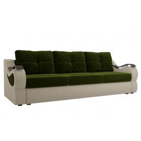 Прямой диван Меркурий еврокнижка, Зеленый/бежевый (микровельвет)