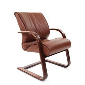 Офисный стул CHAIRMAN 445 WD, кожа, цвет коричневый