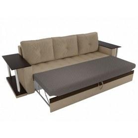 Прямой диван Атланта М 2 стола, Бежевый/коричневый (вельвет)