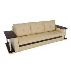 Прямой диван Атланта М 2 стола, Бежевый/коричневый (экокожа)
