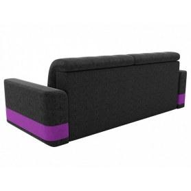 Прямой диван Честер, Черный/фиолетовый (вельвет)