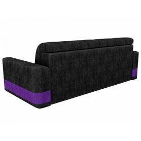 Прямой диван Честер, Черный/фиолетовый (велюр)