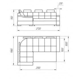 Угловой диван Лео КИТ-14 МУ с сектором