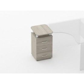 Тумба приставная на 3 ящика, с проставками Glassy 3.10.17 цвет дуб Сантана 420х500х750