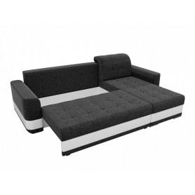 Угловой диван Честер, Черный/белый (вельвет/экокожа)