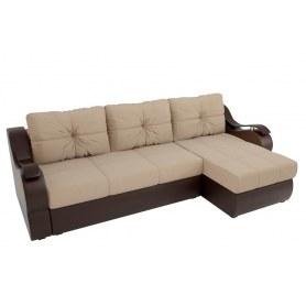 Угловой диван Меркурий, Бежевый/коричневый (рогожка/экокожа)