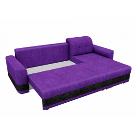 Угловой диван Честер, Фиолетовый/черный (велюр)