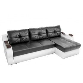 Угловой диван Меркурий, Черный/белый (экокожа)