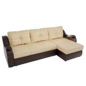 Угловой диван Меркурий, Бежевый/коричневый (экокожа)