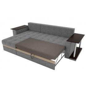 Угловой диван Атланта М 2 стола, Коричневый (рогожка)