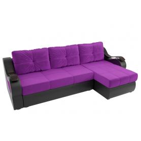Угловой диван Меркурий, Фиолетовый/черный (вельвет/экокожа)