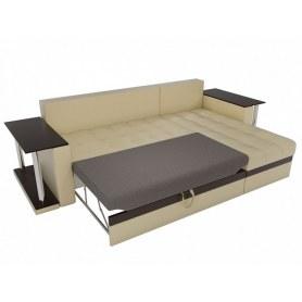 Угловой диван Атланта М 2 стола, Бежевый (экокожа)