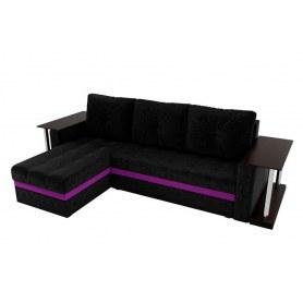 Угловой диван Атланта М 2 стола, Черный (вельвет)