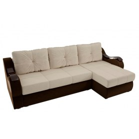 Угловой диван Меркурий, Бежевый/коричневый (вельвет)