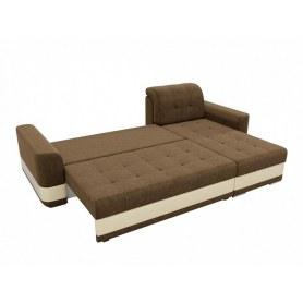 Угловой диван Честер, Бежевый/коричневый (вельвет/экокожа)